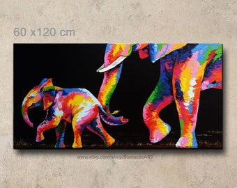 60x120 cm, Elephant painting, wall decor
