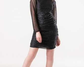 Metallic flower print dress with ruched skirt