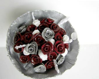 Clay roses, bouquet- red (28 flowers)