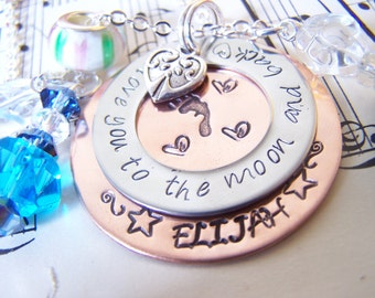Valentines Gift For Mom, I love you to the moon and back hand stamped neckalce, Mixed Metal Mommy Necklace, I love you more jewelry