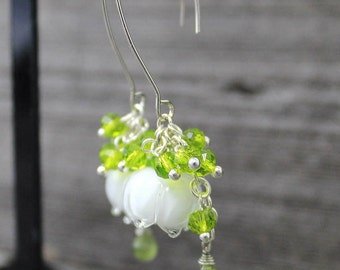 Lily of the valley Glass Lampwork Earrings, Lampwork Flower Earrings, Floral Lampwork Earrings, Floral Earrings, Lily of the valley Earrings