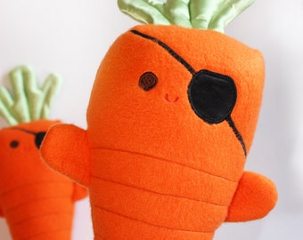 Carrots of the Caribbean, Stuffed Pirate, Stuffed carrot Toy, Baby Toy, Orange Plush toy