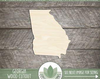 Georgia Wood Shape, Unfinished Wood Georgia Laser Cut Shape, DIY Craft Supply, Many Size Options, Blank Wood Shapes