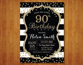 90th Birthday Invitation for women. Surprise 90th Birthday. Black and Gold Glitter. Black Stripes. Confetti. Any age. Printable Digital.