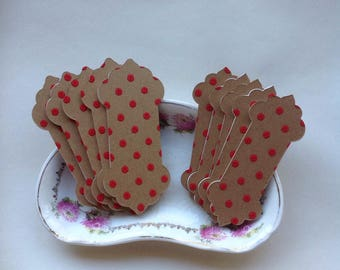 Red polka dot  thread winders for cross stitch threads. Lace cards. Floss winders.
