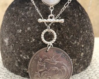 "1986 Jamaica 25 Cent Coin Necklace Pendant. Hummingbird.  Double Chain: 22"" & 18"".  Freshwater Pearl Bezel. Caribbean Tropical Island Coin"