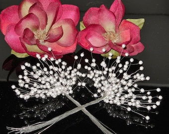 Pearl Spray Pearl Shoots Wired Pearls Floral 4mm Pearl Sprays Bridal Supplies Handmade DIY 100 pieces