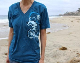 Drifters, Moon Jellies, Ocean, Sea Life, Screenprint on Organic Cotton T-Shirt