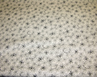 RJR Fabrics Halloween Night Spiders Cream Bkg 1 Yard