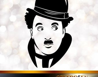 Charles Chaplin Silhouette, artist silhouettes, celebrity silhouette, famous people