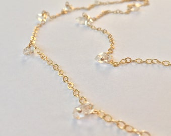 Herkimar Diamond Crystals Gold Chain