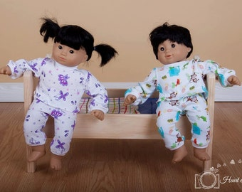 "Doll knit pajama pattern - Mini Snug as a Bug PDF pattern - 15"" and 18"" doll size"
