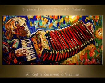 Accordion Player Painting on canvas Original Palette Knife Ready to Hang by Nizamas music art