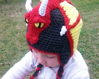 Dragon hat, red dragon hat, crochet dragon hat, kids dragon hat, dragon beanie, adult dragon hat