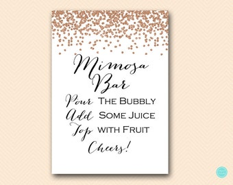 Mimosa Bar Sign, Printable Mimosa Bar Signage, Bubbly Bar, Rose Gold Bridal Shower Decoration Sign, Rose Gold Signs BS155 MP