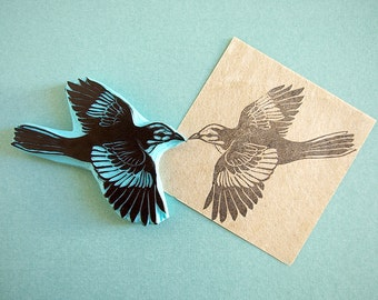 Mockingbird rubber stamp, hand carved, bird stamp, flying bird, textile stamping idea, DIY stamping