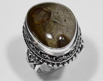 Sterling Silver Imperial Jasper Ring, Silver Ring, Imperial Jasper Ring, Imperial Jasper, Jasper Ring,Round .925 Sterling Silver Ring Size 8