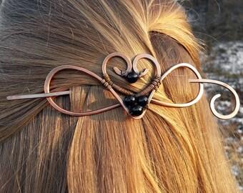 Grande barrette cuivre ou diapositive pour cadeau de femmes - broche coeur pour châle ou un chandail - cadeau pour elle - cheveux épais