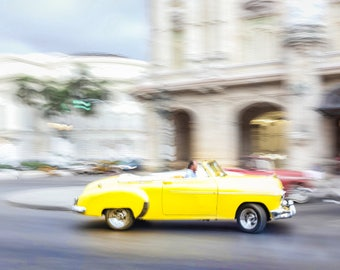Yellow Classic, Classic Car Photo, Cuba Art Print, Canvas, Cuban Decor, Large Wall Art, Travel Photo, Travel Photography, Cuba Photography