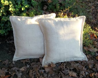 Pair White Metallic Burlap Pillows READY to SHIP Oyster White Pillows 20 x 20