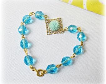 SALE Aquamarine Bracelet Blue Aqua - Flower Beaded Jewellery Gold Jewelry dspdavey - March Birthstone Teens For Her Botanical Adjustable