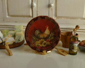 La Provence Rooster Dollhouse Plate in 1:12 Scale.