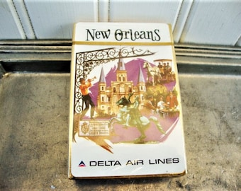 vintage new orleans playing cards delta airlines city deck mint