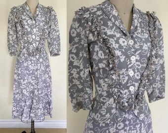 1940s Floral Two Piece Dress