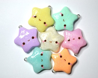 Glitter Star Charm - Kawaii Polymer Clay Jewelry