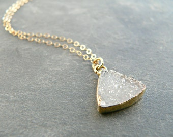 Mini Druzy Triangle Gold Necklace