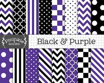 Black and Purple Halloween Digital Paper, Scrapbook Paper, Commercial Use, Purple and Black Chevrons, Purple Polka Dots, Instan