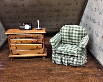 Plaid Miniature Arm Chair