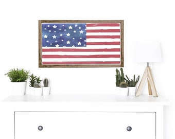 USA flag sign, american flag wood sign, indoor / outdoor, gallery wall, vignette piece, america sign, 4th of July decor, patriotic