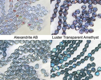 Czech pressed glass bicone 6mm beads alexandrite, luster amethyst, montana blue, luster blue, 50 pieces