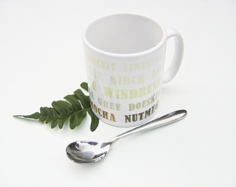Letterpress Typography Print Mug - Walk in the Woods - Natural, Gray, Grey, Brown
