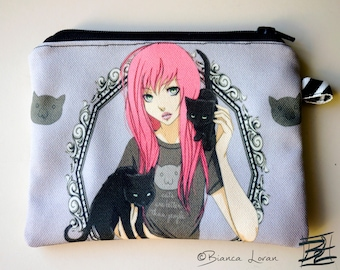 Cats Are Better Than People - kitty love anime artwork - Zippered Pouch - Coin Purse Wallet - Bianca Loran Art