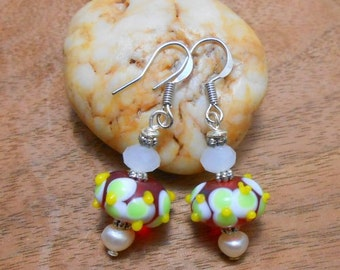 Cherry Lime Drop, Lampwork Bead And Pearl,Sterling Silver, Dangle,Red, Glass, Bead Earrings
