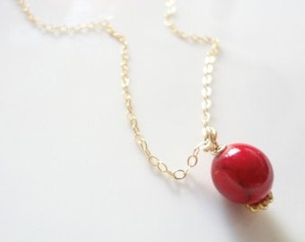 Red Coral Necklace, Gold Filled Chain, Dainty, Minimalist, Bridal, Weddings, Bridesmaids, Handmade jewelry