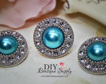 5 Pcs Pearl Rhinestone Buttons Plastic Acrylic BLUE Pearl Buttons Embellishments Clear Rhinestone Flower Centers DIY Weddings  25mm 452035