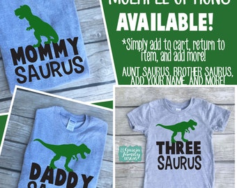 MommySaurus, DaddySaurus, Dinosaur Birthday Shirts, Dinosaur Shirt, Dinosaur Family Shirts, Dinosaur Birthday Party, AuntSaurus, Dinosaur