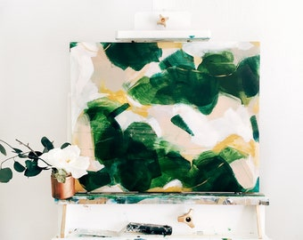 Gemma Abstract Painting, original acrylic painting, green and gold