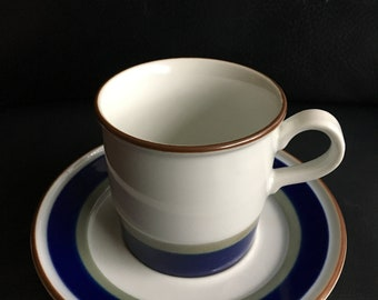 Beautiful vintage porcelain cup and saucer from Porsgrund, Norway, hand-painted