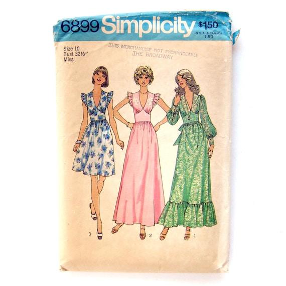 70er Jahre Vintage Schnittmuster / Kleid mit V-Ausschnitt und ...