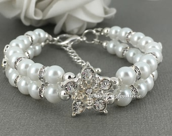 Bridesmaid Gift Rhinestones Bracelet Double Strand Bracelet Bridesmaid Bracelet Maid of Honor Gift for Her Jewelry for Mother of the Bride