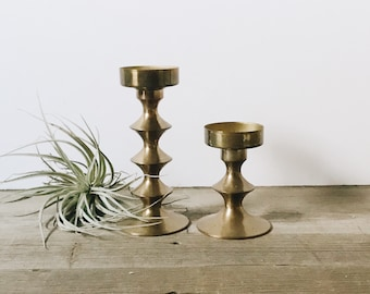Pair of vintage brass candleholders | votive candle holders
