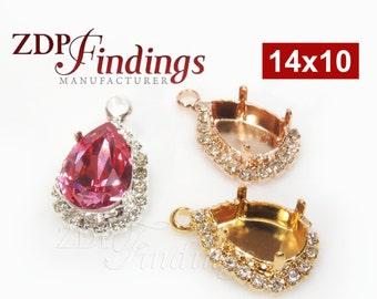 2pcs x Teardrop 14x10mm Earrings or Pendant Bezel For Setting with Crystal Rhinestones fit Swarovski 4320, Choose your Finish (PR1410PVCRYV)