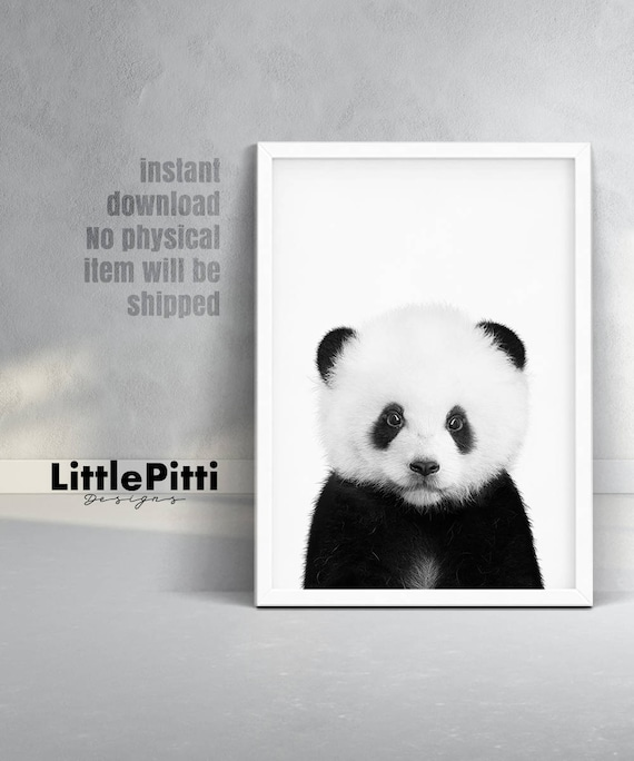 Baby panda print black and white animal prints nursery cute
