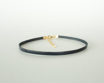 Thin 6mm Black Leather Choker Necklace