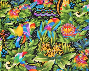 Laurel Burch RARE Oop JUNGLE SONGS All Over Fabric - By The Half Yard