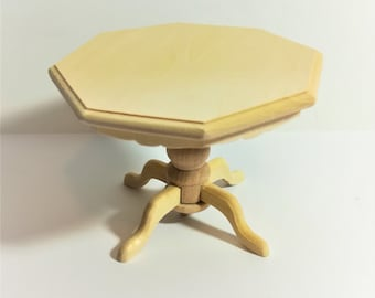 Dollhouse Miniature Unfinished Octagon Kitchen or Dining Room Table 1:12 Scale Furniture